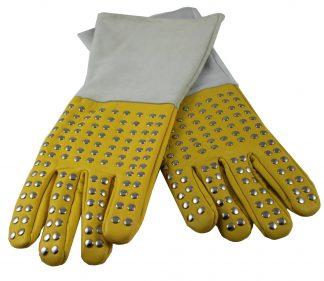 Large Metal Stud Leather Reptile Handling Gloves Gloves